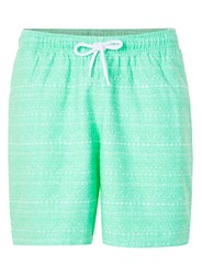 Topman Mint Patterned Stripe Sophomore Shorts Green