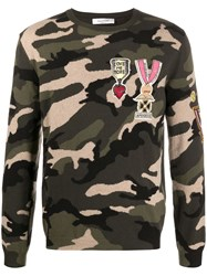 Valentino Camouflage Military Badge Embellished Sweater Green