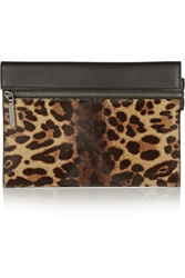 Victoria Beckham Leopard Print Calf Hair And Leather Clutch