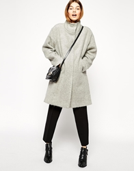 Asos Oversized Coat With Funnel Neck In Hairy Wool Grey
