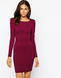 Ax Paris Bodycon Dress With Padded Shoulders Burgundy