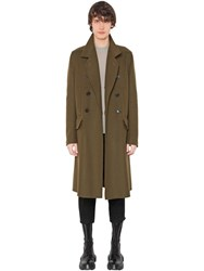 Rick Owens Double Breasted Wool Blend Coat Army Green
