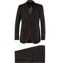Gucci Black Slim Fit Piped Twill Tuxedo Black