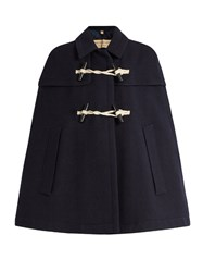 Burberry Capsmore Wool And Cashmere Blend Duffle Cape Navy