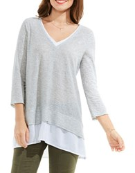 Vince Camuto Double Layer Mix Media V Neck Top Grey