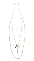 Chan Luu Layered Chain And Bead Necklace Natural Mix