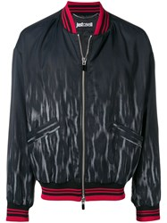 Just Cavalli Faded Leopard Bomber Jacket Blue