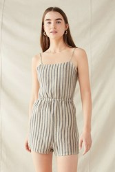Urban Renewal Remade Tie Back Yarn Dyed Romper Tan