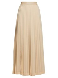 The Row Lawrence Pleated Crepe Skirt Beige
