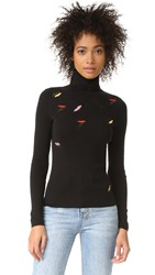 Sonia Rykiel Embroidered Lips Turtleneck Sweater Black