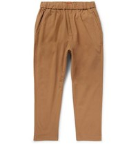 Barena Tapered Stretch Cotton Drawstring Trousers Tan