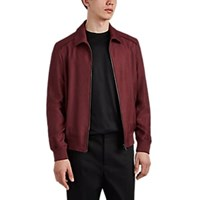 Luciano Barbera Linen Blend Canvas Bomber Jacket Dark Red