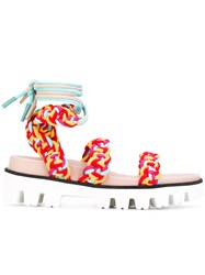 Red Valentino Woven Sandals Women Leather Polyester Rubber 40 Yellow Orange