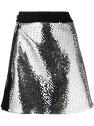Thierry Mugler Sequinned Front Slit Skirt Women Polyamide Polyester Viscose 40 Grey