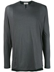 Yohji Yamamoto Raw Edge Cutaway Collar Sweater Men Silk Cotton Viscose 3 Grey