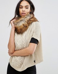 Lipsy Cable Knit Poncho With Faux Fur Trim Beige