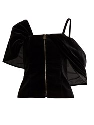 Osman Candice Velvet Zip Front Top Black