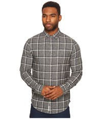 Original Penguin Long Sleeve Jaspe Brushed Flannel Plaid Heritage Steel Gray Men's Long Sleeve Button Up