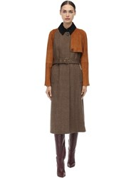 Salvatore Ferragamo Belted Check Wool And Suede Trench Coat Brown