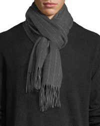 Neiman Marcus Cashmere Pinstriped Scarf Gray