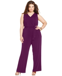Ny Collection Plus Size Sleeveless Belted Jumpsuit Dark Purple