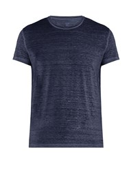 120 Lino Crew Neck Linen T Shirt Blue