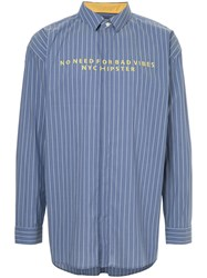 Guild Prime Bad Vibes Embroidered Striped Shirt Blue