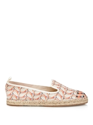 Fendi Bird Print Leather And Canvas Espadrilles