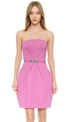 Kaufman Franco Strapless Belted Tulip Dress Raspberry