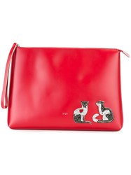 N 21 No21 Embellished Cat Clutch Red