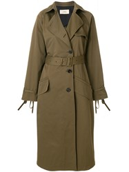 Ports 1961 Classic Belted Trench Coat Green