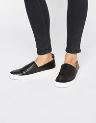 London Rebel Slip On Trainers Black Croc