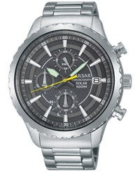 Pulsar Men's Solar Chronograph Stainless Steel Bracelet Watch 44Mm Pz6011 Silver