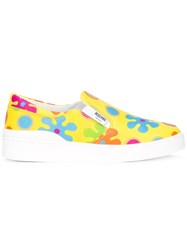 Moschino Flower Power Slip On Sneakers Yellow Orange
