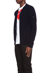 Comme Des Garcons Play Lambswool Cardigan With Small Black Emblem Sleeve In Blue