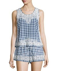Calypso St. Barth Yunes Embroidered Check Print Top Navy Navy Cc