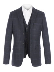 Racing Green Men's Stanhope Navy Check Jacket Navy