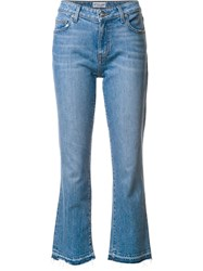 Derek Lam 10 Crosby Gia Mid Rise Cropped Flare Blue