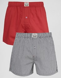 Levi's Levis Check Woven Boxers In 2 Pack Red Red