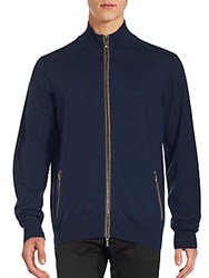 Canali Solid Wool Zipped Sweater Blue