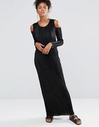 Liquorish Long Sleeve Cold Shoulder Maxi Dress Black