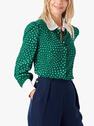 Brora Liberty Star Print Silk Shirt Emerald