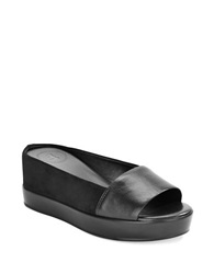 French Connection Pepper Suede And Leather Platform Wedge Sandals Black