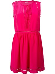 P.A.R.O.S.H. Tassel Tie Neck Mini Dress Pink And Purple