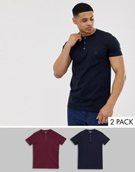 French Connection 2 Pack Grandad Collar T Shirts Navy