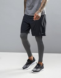 Saucony Running Interval 2 In 1 Shorts In Black Sa81185 Bkbk