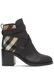 Burberry 70Mm Pryle Leather And Check Ankle Boots Black