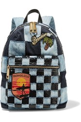 Marc Jacobs Biker Leather Trimmed Embellished Patchwork Denim Backpack Dark Denim