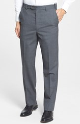 Men's Big And Tall Berle Self Sizer Waist Flat Front Wool Trousers Medium Grey