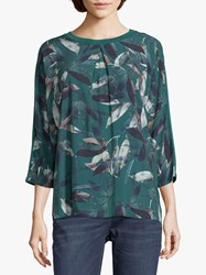 Betty And Co. Leaf Print Top Green
